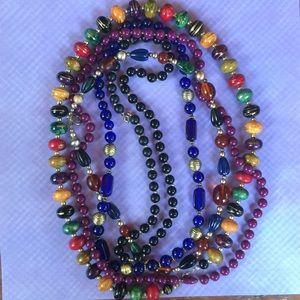 Jewelry - Lot vintage bead necklaces jewel tones